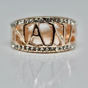 18k Gold Dipped Two Tone White Topaz Nana Ring
